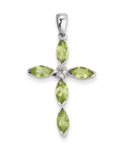 Marquis Peridot and Diamond Cross Pendant in Sterling Silver