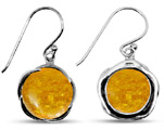 Natural Amber Silver Earrings with Shepherd's Hook