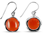 Natural Carnelian Earrings in Sterling Silver