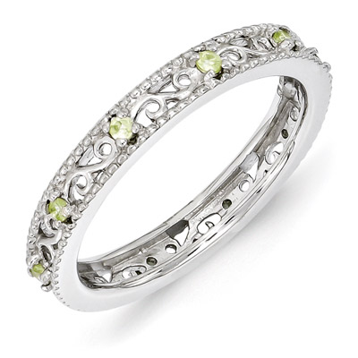 Paisley Filigree Silver Peridot Stackable Band Ring