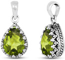Pear-Cut Green Peridot Pendant in Silver