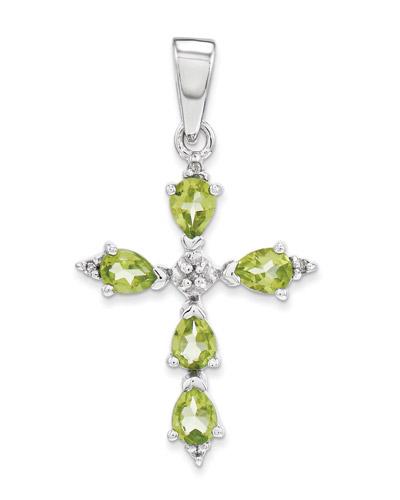 Pear shaped peridot cross pendant in sterling silver applesofgold pear shaped peridot cross pendant in sterling silver mozeypictures Gallery