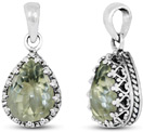 Pear-Shape Green Amethyst Pendant in Silver