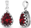 Pear-Shaped Red Garnet Pendant in Sterling Silver