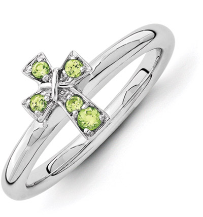 Peridot Cross Ring in Sterling Silver