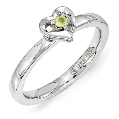 peridot heart ring in silver