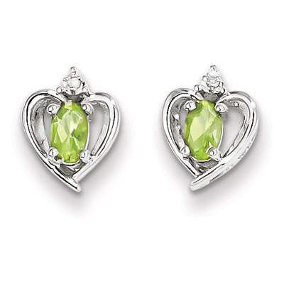 Peridot Heart Stud Earrings in Sterling Silver