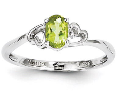 Heart Style Peridot Ring in Sterling Silver