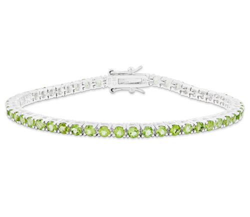 Peridot Tennis Bracelet in Sterling Silver
