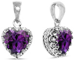 8mm Purple African Amethyst Heart Pendant in Silver