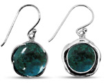 Round Chrysocolla Silver Earrings
