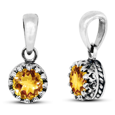 Round Genuine Citrine Pendant in Sterling Silver