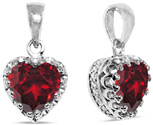 8mm Sterling Silver Garnet Heart Pendant