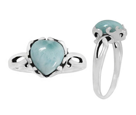 Silver Larimar Heart Ring