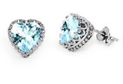 Sky Blue Topaz Heart Earrings, Sterling Silver