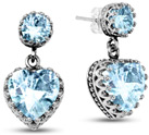 Sky Blue Topaz Studs with Heart Dangle Earrings