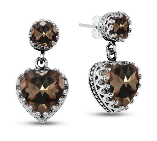 Smoky Quartz Stud Earrings with Heart Dangle