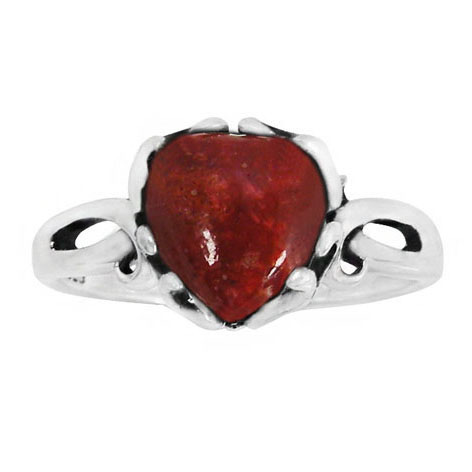 Sponge Coral Heart Ring in Silver