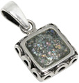 Antique Square Roman Glass Pendant in Silver