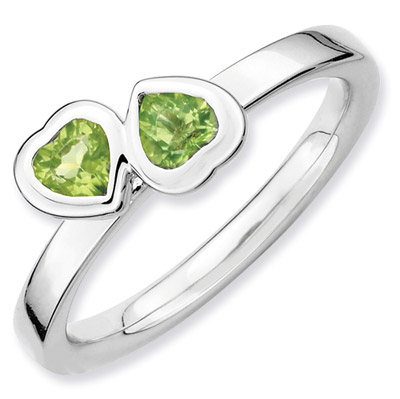 Stackable Peridot Double Heart Ring in Sterling Silver