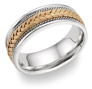 Braided Wedding Ring in 14K Gold and Sterling Silver