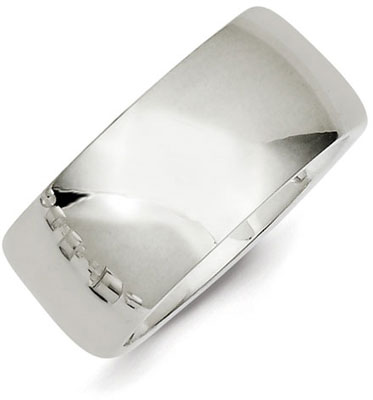 Sterling Silver 10mm Comfort Fit Wedding Band