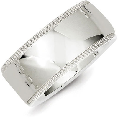 Sterling Silver 10mm Milgrain Wedding Band