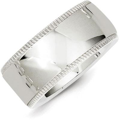 Sterling Silver 10mm Milgrain Wedding Band