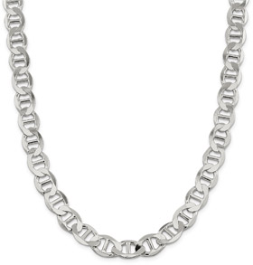 12mm Sterling Silver Mariner Chain Necklace, 20