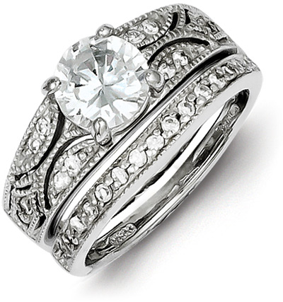 2-Piece Silver Milgrain CZ Engagement Wedding Ring Set thumbnail