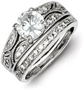 2-Piece Silver Milgrain CZ Engagement Wedding Ring Set
