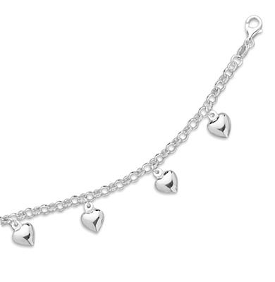 Sterling Silver Heart Charm Rolo Bracelet