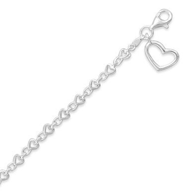 Heart Charm Bracelet, Sterling Silver