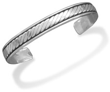 Oxidized Sterling Silver Men's Rope Design Cuff Bracelet