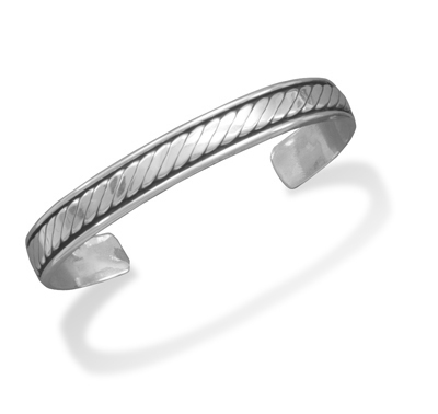 Oxidized Sterling Silver Men's Rope Design Cuff Bracelet