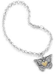 Heart of Gold Sterling Silver Butterfly Charm Bracelet