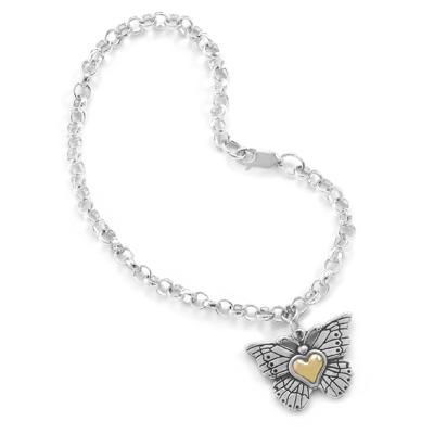 Heart of Gold Sterling Silver Butterfly Charm Bracelet