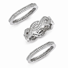 3 Piece Sterling Silver CZ Ring Set