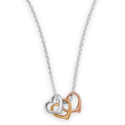 Tri Tone Heart Necklace, Sterling Silver