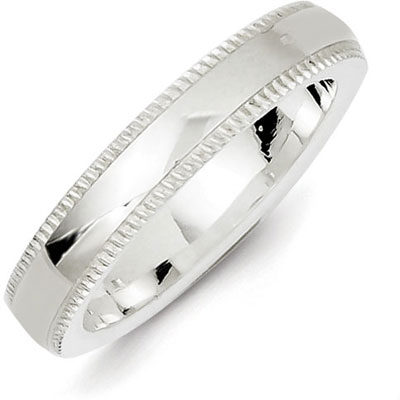 Sterling Silver 4mm Milgrian Wedding Band