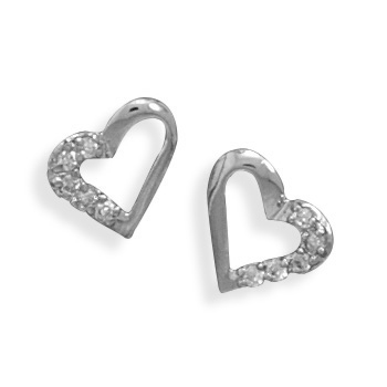 Sterling Silver and CZ Heart Earrings
