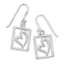 Cut Out Square Sterling Silver Heart Earrings