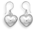 Puffy Heart Earrings in Sterling Silver