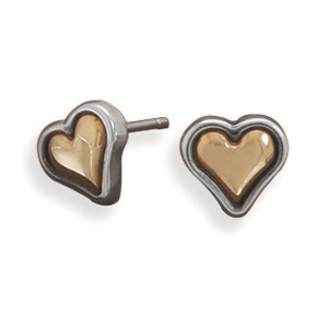 Sterling Silver and 14K Gold Plated Heart Earrings