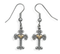Sterling Silver and 14K Gold Cross Earrings