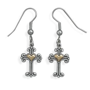 Sterling Silver and 14K Gold Cross Earrings