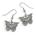 Heart of Gold Sterling Silver Butterfly Earrings