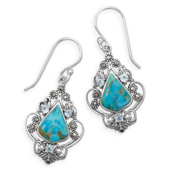 Turquoise, Blue Topaz and Marcasite Earrings in Sterling Silver