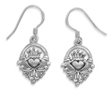 Claddagh Earrings in Sterling Silver