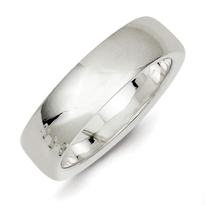Sterling Silver 6mm Comfort Fit Wedding Band